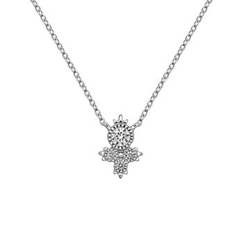 White gold four diamonds necklace, J03395-01, hi-res