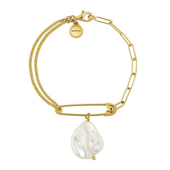 Gold plated pearl safety pin bracelet, J04571-02-WP, hi-res