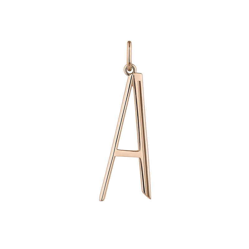 Large rose gold plated initial A, J04642-03-A, hi-res