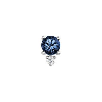 Pendiente zafiro y diamante oro blanco 9 kt, J04073-01-BS-H, hi-res