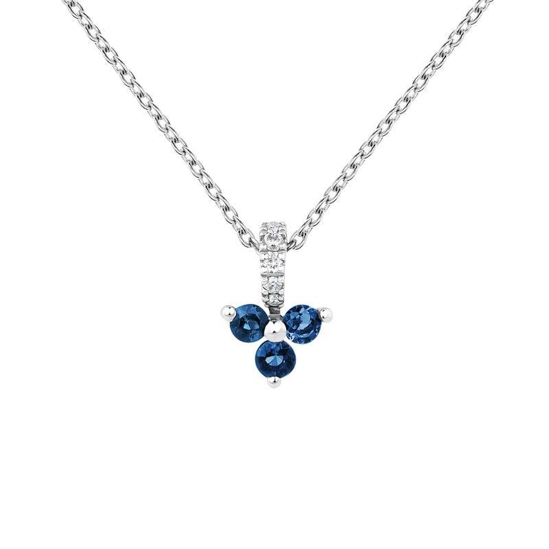 Colgante trébol zafiro y diamante oro blanco, J04080-01-BS, hi-res