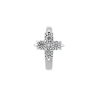 Boucle d'oreille piercing créole diamants or blanc 0,033 ct, J03386-01-H, hi-res
