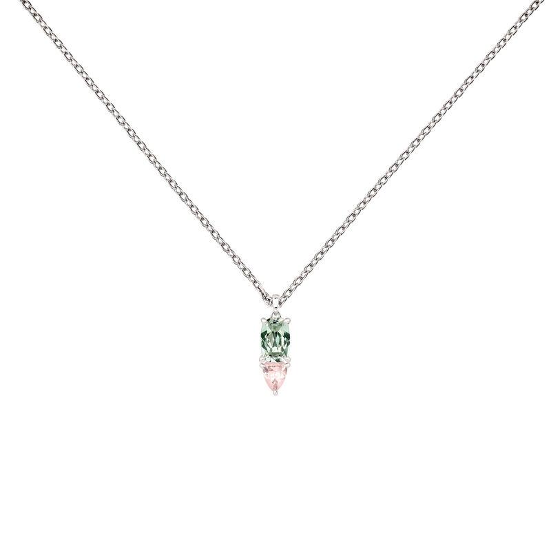 Silver geometric gemstone necklace, J03762-01-GAM-PQ, hi-res