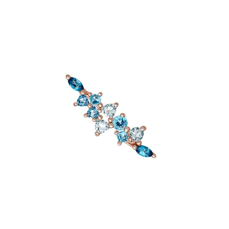Rose gold plated climber earrings with topaz, J03421-03-LBSBSK, hi-res