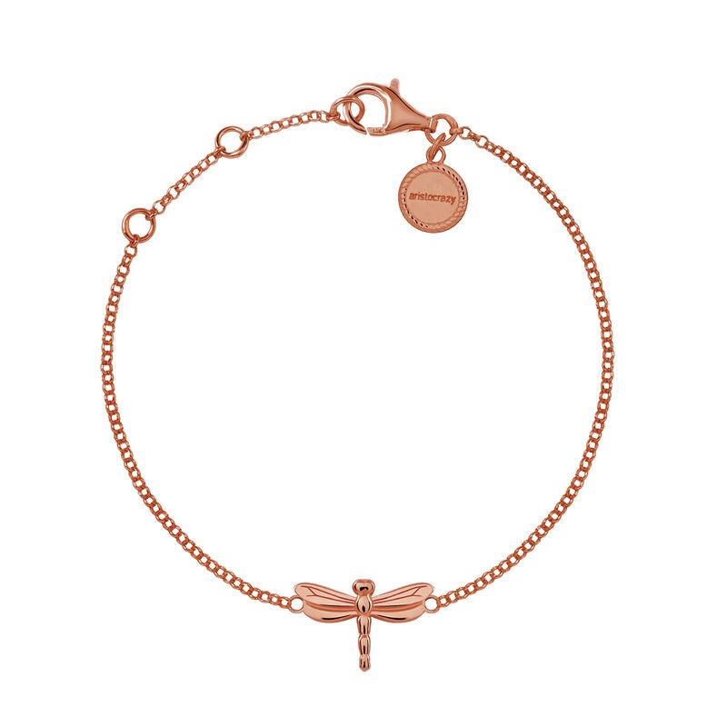 Bracelet libellule argent plaqué or rose, J03182-03, hi-res