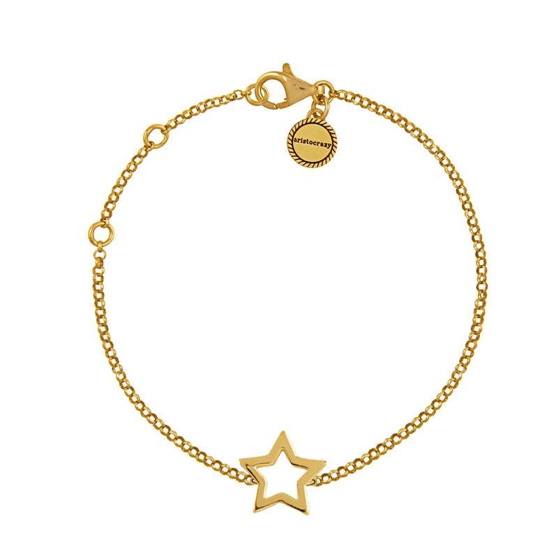 Pulsera estrella hueca plata recubierta oro, J01373-02, hi-res