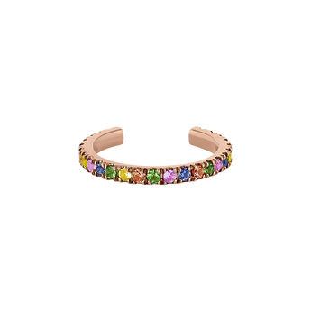 Pendiente de cartílago con zafiros multicolor y tsavorita oro rosa, J04335-03-MULTI-H, hi-res