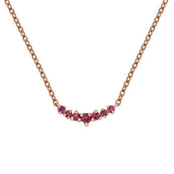 Rose gold plated rhodolite garnet necklace, J03696-03-RO, hi-res