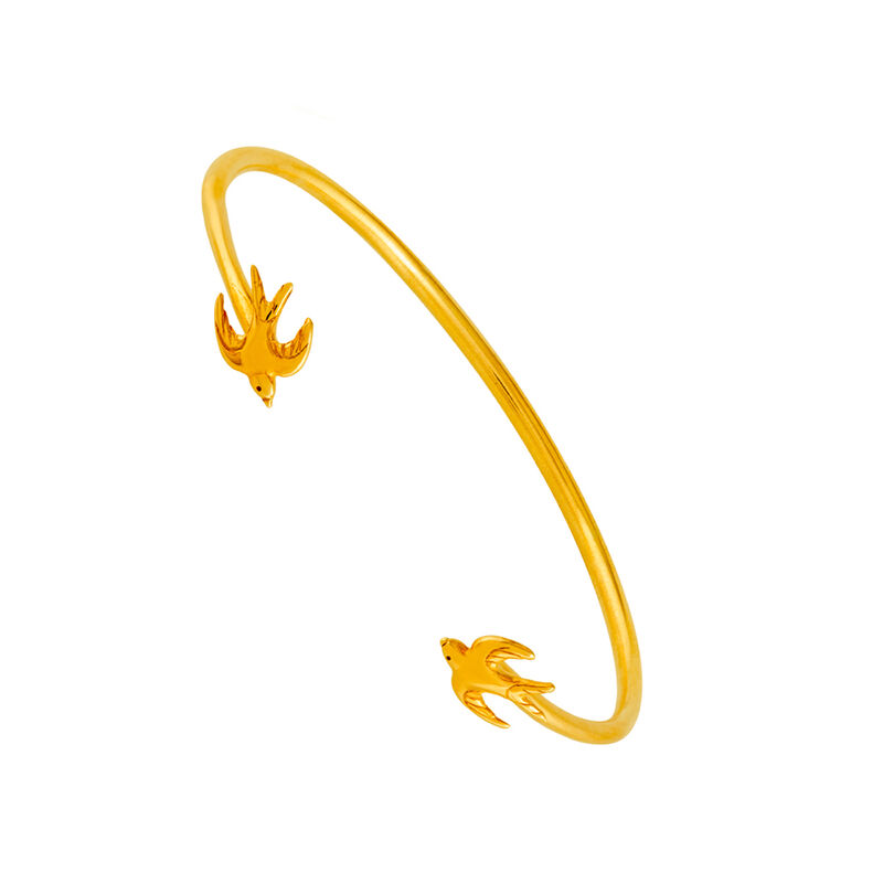 Pulsera rígida golondrinas oro, J01867-02, hi-res