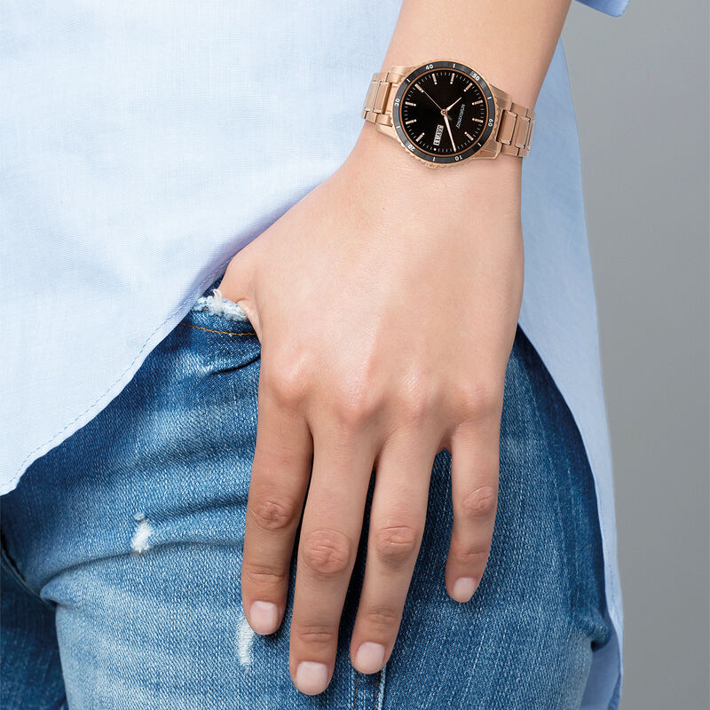 Shibuya watch bracelet black face, W43A-PKBLBL-AXPK, hi-res