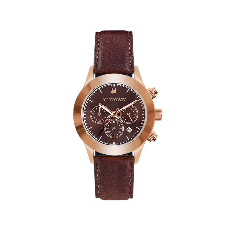 Soho watch rose gold bracelet brown face., W29A-PKPKBR-LEBR, hi-res