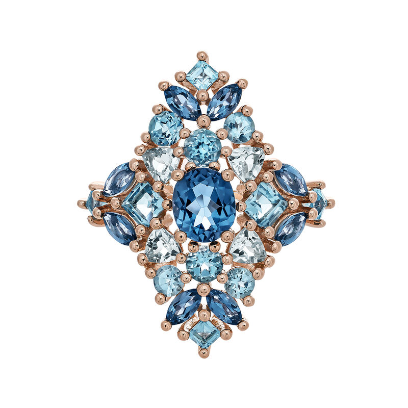 Large rose gold plated ring with topaz, J03419-03-LBSBSK, hi-res