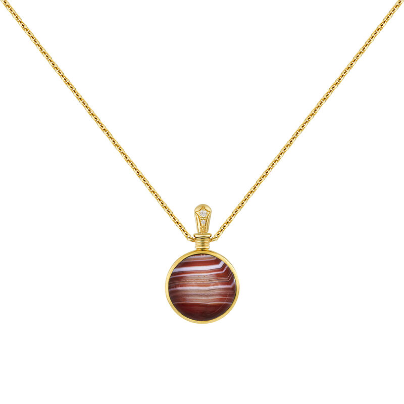 Small necklace red agate gold