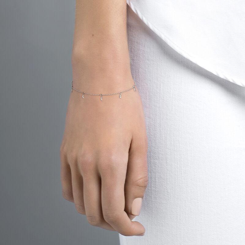 White gold moon motifs bracelet, J04539-01, hi-res