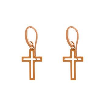 Pendientes cruz hueca oro rosa, J02035-03, hi-res