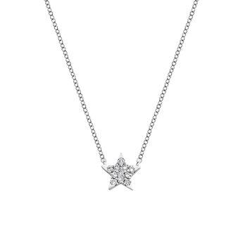 Starfish necklace diamonds 0.06 ct, J03024-01, hi-res