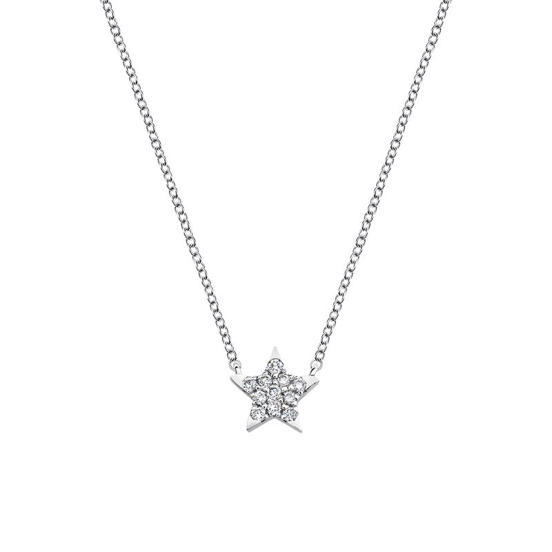 Starfish necklace diamonds 0.06 ct, J03024-01, hi-res