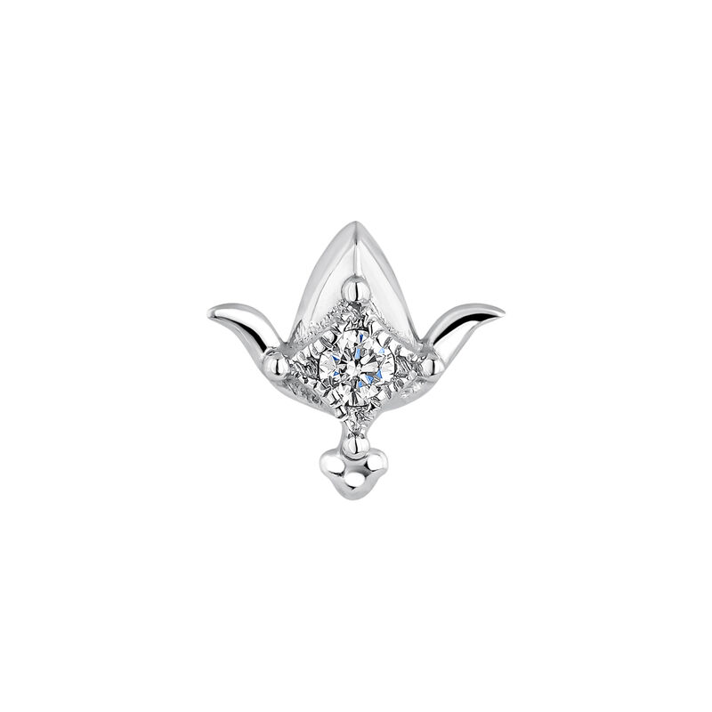 Piercing petite fleur de lotus or blanc diamant 0,012 ct., J04360-01-H, hi-res