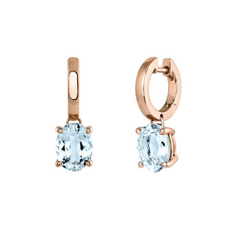 Medium rose gold plated hoop earrings with topaz, J03810-03-SKY, hi-res