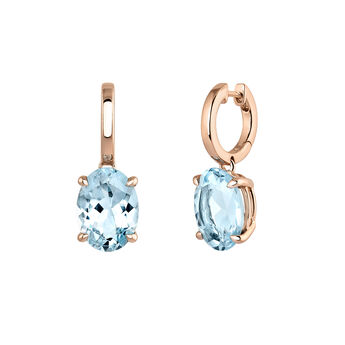 Large rose gold plated hoop earrings with topaz, J03809-03-SKY, hi-res