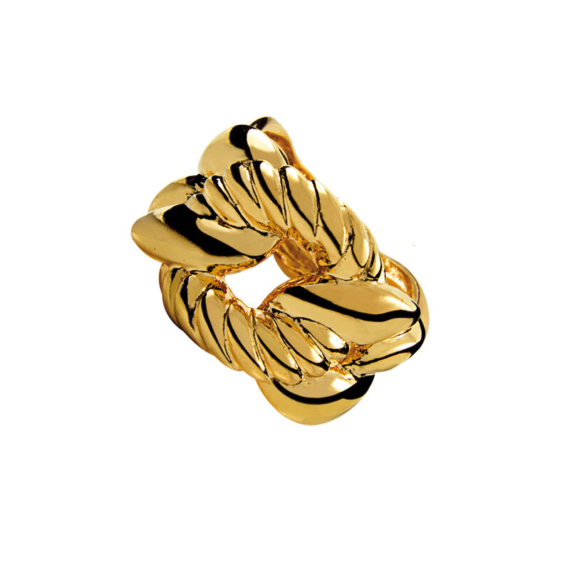 Gold smooth and cabled links ring, J00611-02, hi-res