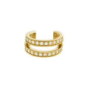 Gold double hoop cartilage ring, J04085-02-WT, hi-res
