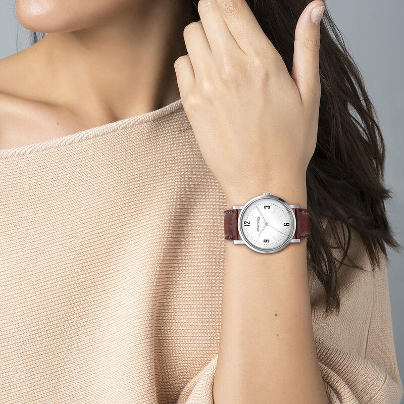 Brooklyn watch strap white face, W45A-STSTWH-LEBR, hi-res