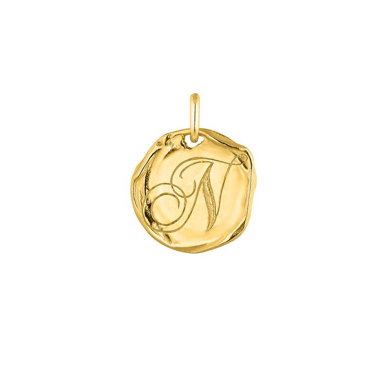 Pendentif médaille initiale N en argent plaqué or, J04641-02-N, hi-res