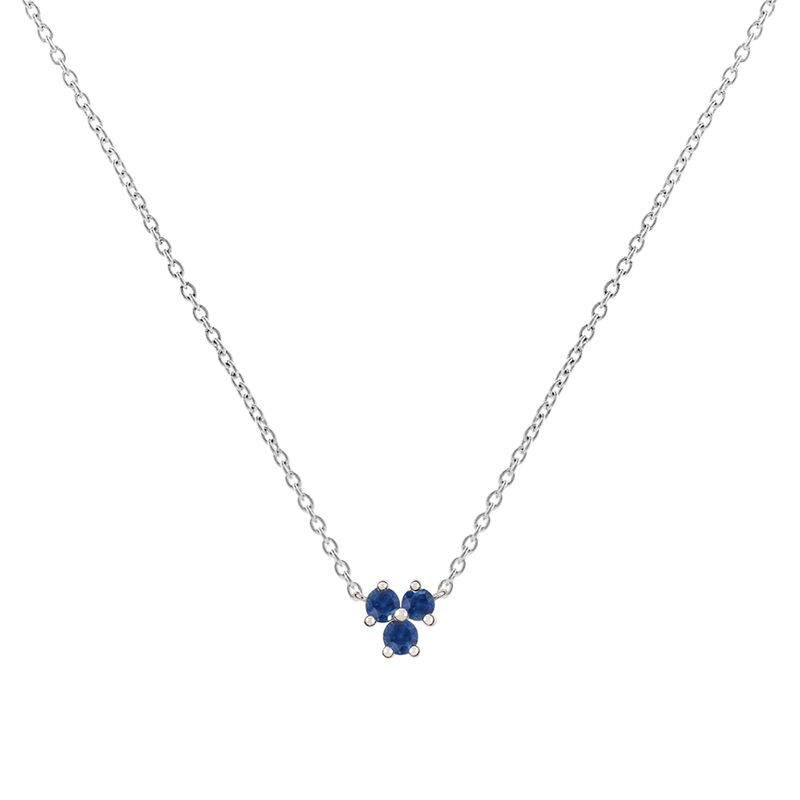 Silver shamrock necklace with sapphires, J01967-01-BS, hi-res