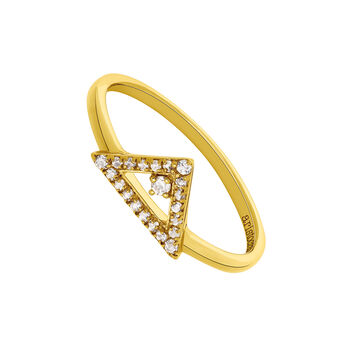 Gold Topaz Bohemian Triangular Ring, J03546-02-WT, hi-res