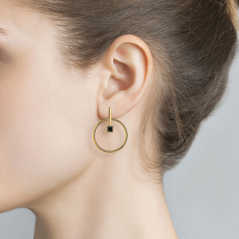 Circular earrings with spinel gold, J04059-02-BSN, hi-res