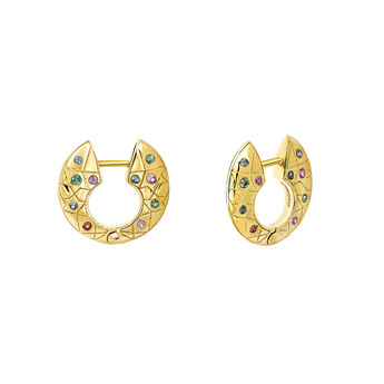 Small gold hoop earrings with stones, J03568-02-SA, hi-res