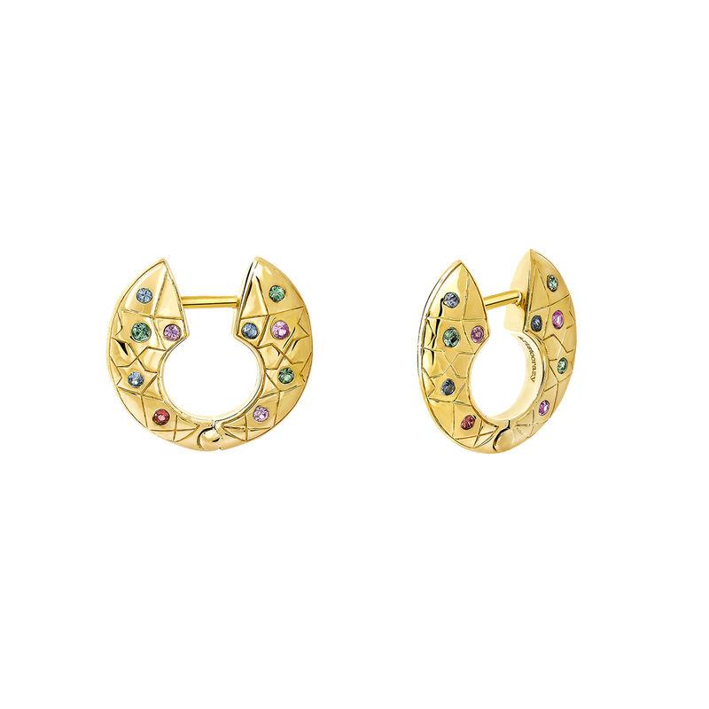 Pendientes de aro pequeño con piedras oro, J03568-02-SA, hi-res