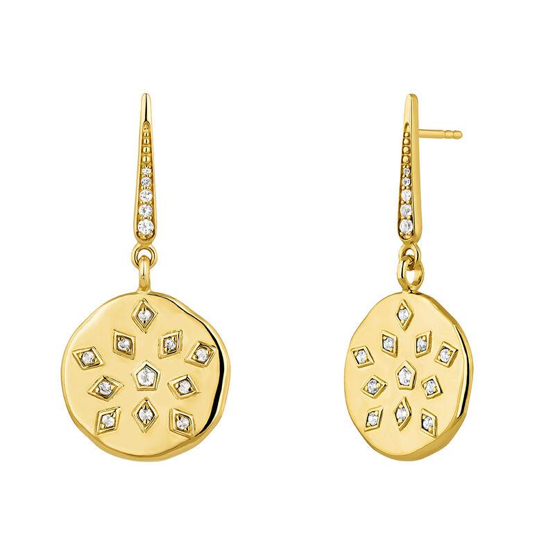 Boucles d'oreilles médailles topaze spinelles plaqué or, J04263-02-WT, hi-res