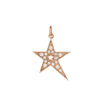Rose gold hollow asymmetric star necklace with topaz, J03972-03-WT, hi-res