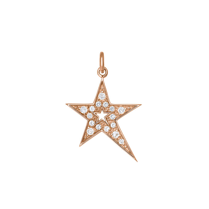 Rose gold hollow asymmetric star necklace with topaz, PINKGOLDPLATED STERLING SILVER, hi-res