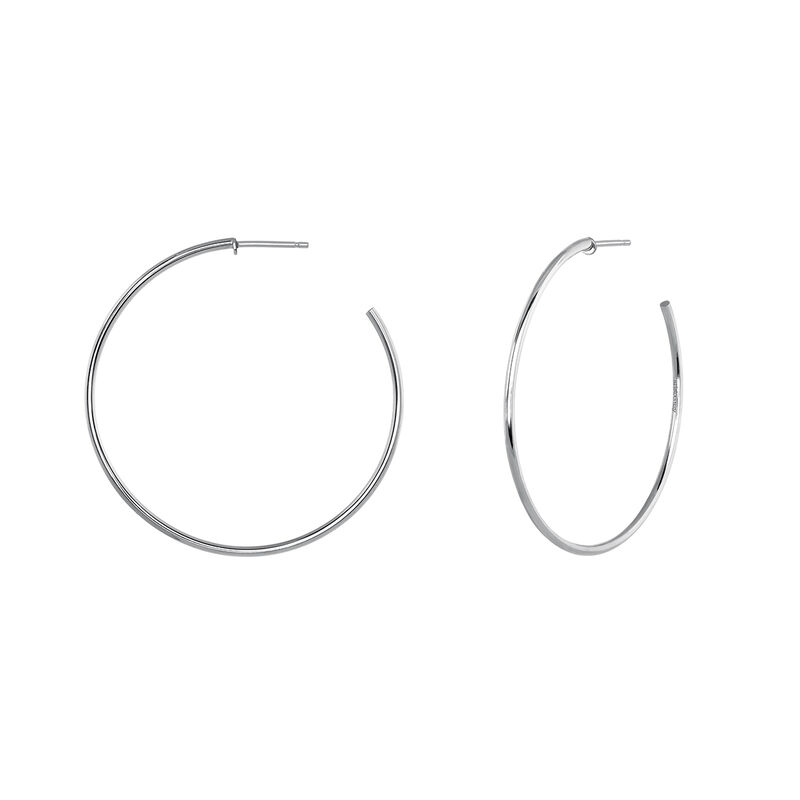 Pendientes de aro grande fino plata, J04191-01, hi-res