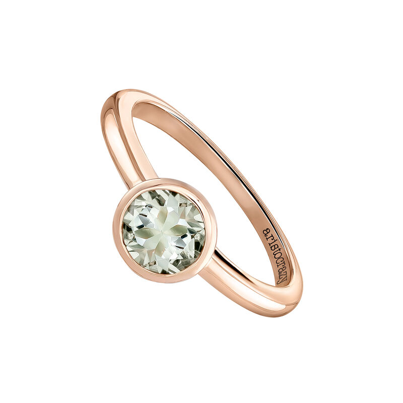 Medium round rose gold plated stone ring, J03814-03-GQ, hi-res