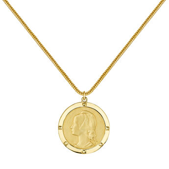 Gold portrait coin pendant, J03591-02, hi-res