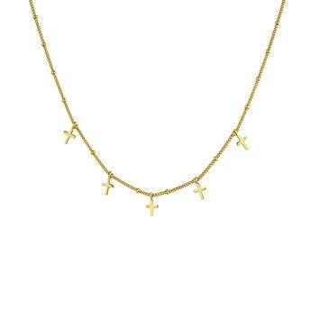 Collar multi cruces plata recubierta oro, J04863-02, hi-res