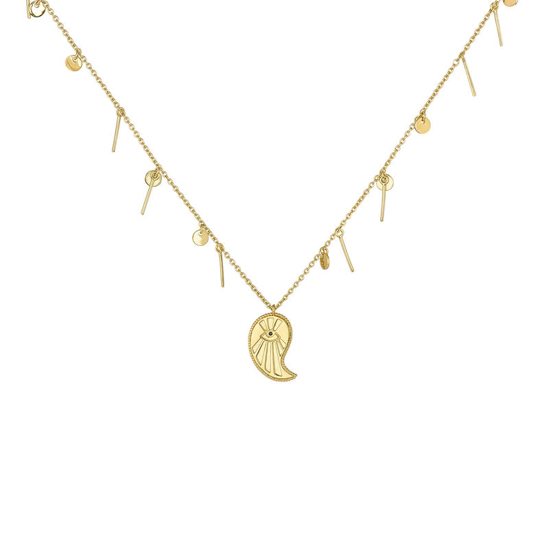 Gold plated cashmere pendants necklace, J04139-02-BSN, hi-res