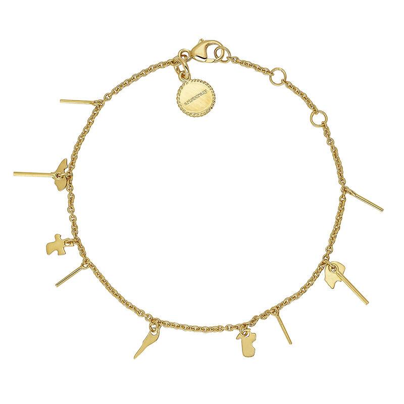 Gold plated motifs bracelet, J04556-02, hi-res