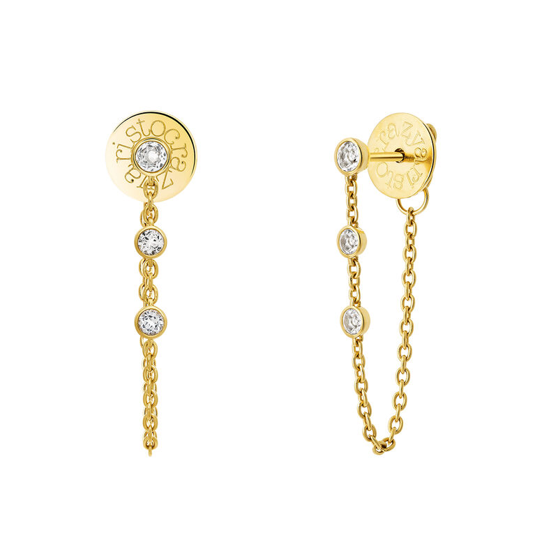 Gold plated chain earrings with topazes, J03672-02-WT, hi-res