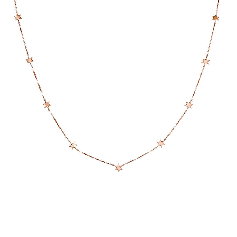 Collier étoiles or rose 9 ct, J03867-03, hi-res