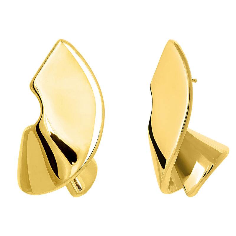 Gold sculptural earrings, YELLOWGOLDPLTD STERLING SILVER, hi-res