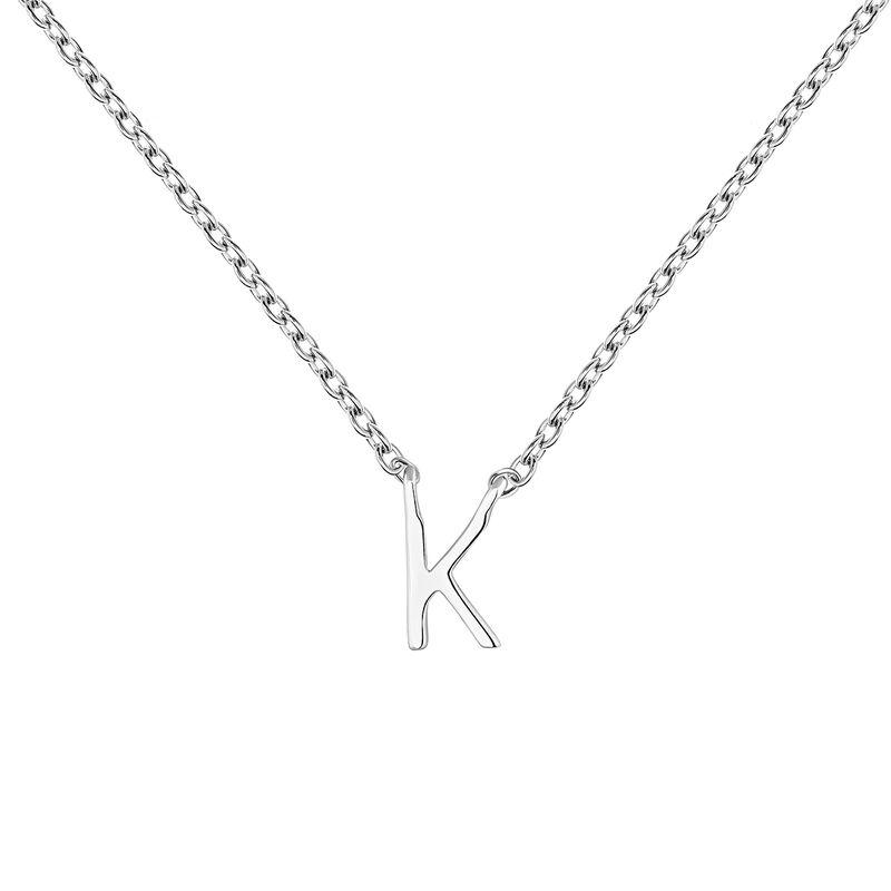 Collier iniciale K or blanc, J04382-01-K, hi-res