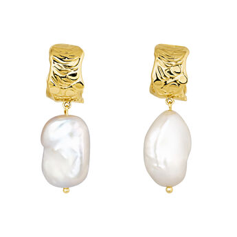 Hoop earrings baroque pearl yellow gold, J04199-02-WP, hi-res
