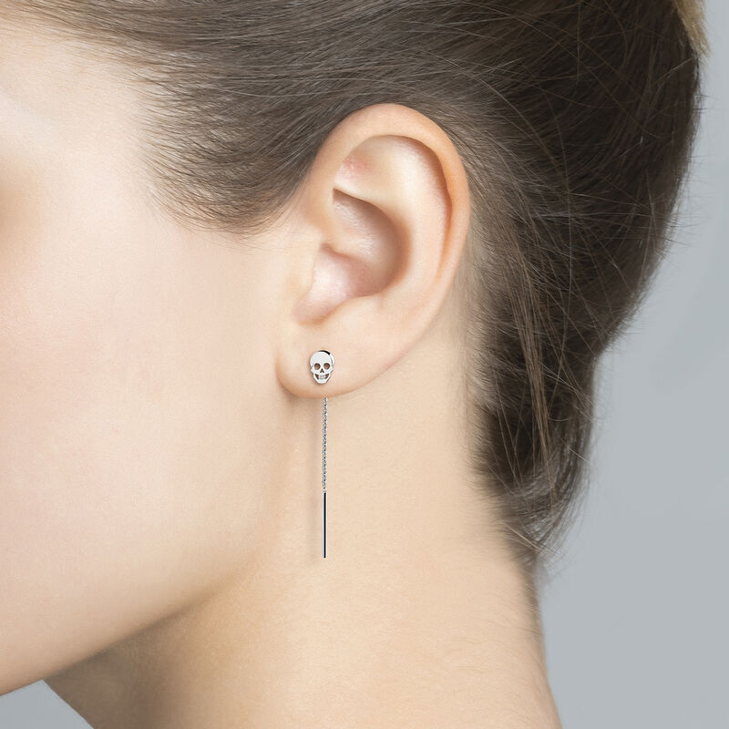 Boucles d'oreilles tête de mort argent, J03944-01, hi-res