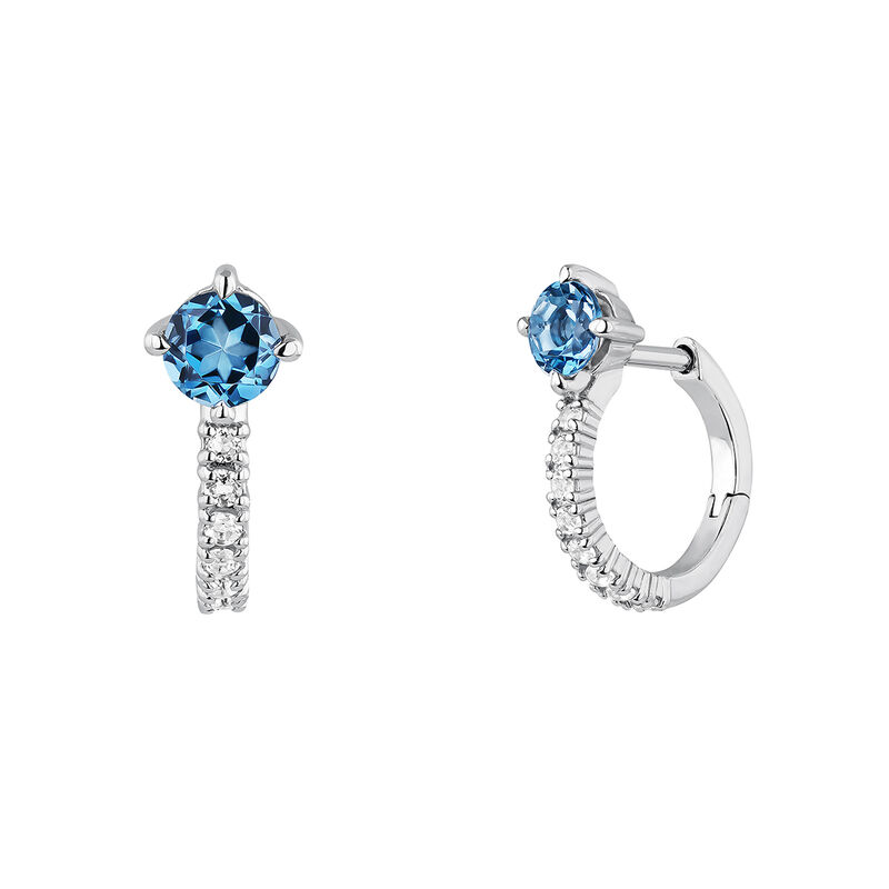 Silver topaz hoop earrings