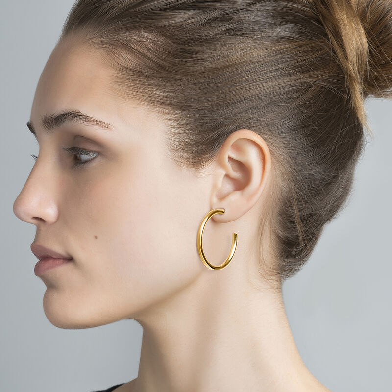 Medium gold plated hoop earrings, J04192-02, hi-res